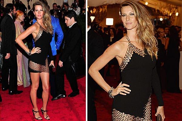 Muy sexy, Gisele Bundchen eligió un vestido corto de Anthony Vacarello, con un tramado tipo cadena. Foto: AP, AFP y Reuters