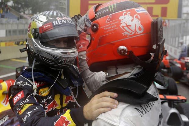 Schumacher y Vettel.  Foto:AP