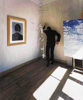 """""""Sin escapatoria (El artista siempre muere)"""", de Oscar Bony. Fotografía y vidirio baleados con una pistola automática Walther P.88 9 mm (1998)"""