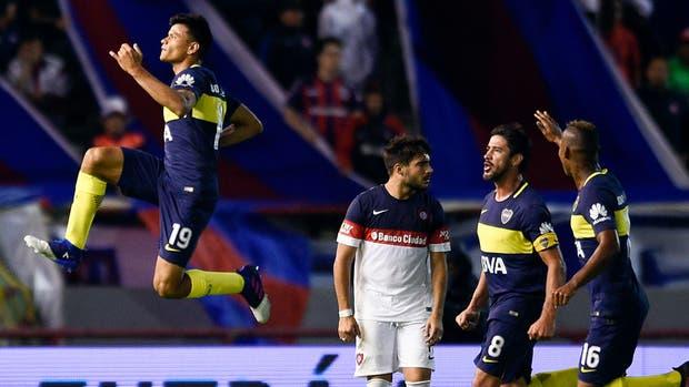 El salto de Bou tras el gol ante San Lorenzo, su último festejo