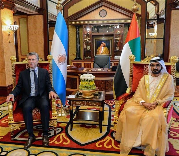Macri ayer con el primer ministro de Emiratos Árabes Unidos, el sheik Mohammed Bin Rashid Al Maktoum