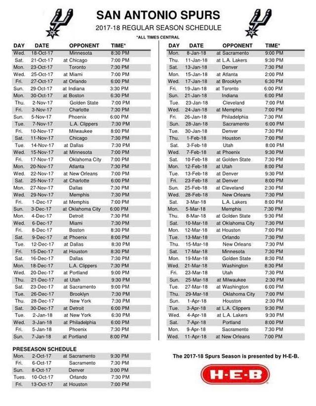 El calendario de San Antonio Spurs