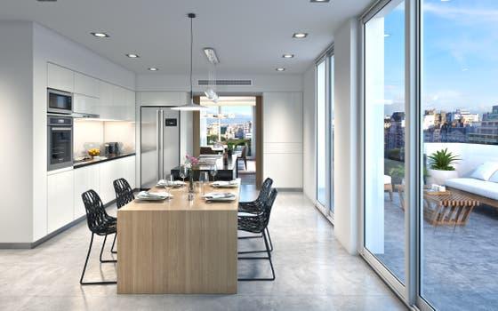 La cocina está pensada con un concepto moderno y funcional.