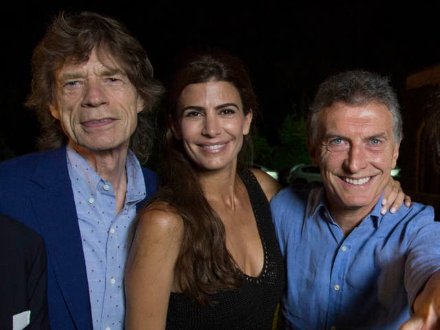 Macri junto a su mujer y Mick Jagger