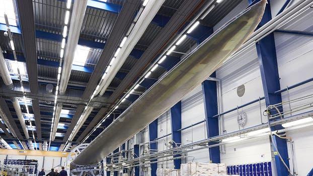 El aerogenerador tendrá tres de estas aspas, y se instalará en plataformas off-shore en Dinamarca.