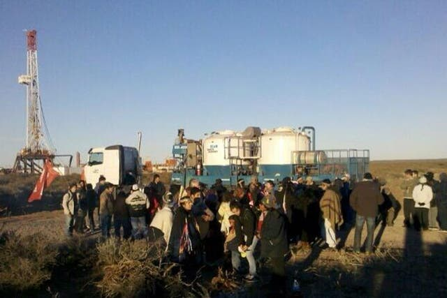 Protesta mapuche en Vaca Muerta, Neuquén