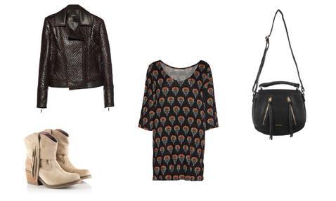 Vestido (Cher, $1200) Botas (Heyas, $1699) Bandolera (Amphora, $1099) Campera (Tramando, $2520)