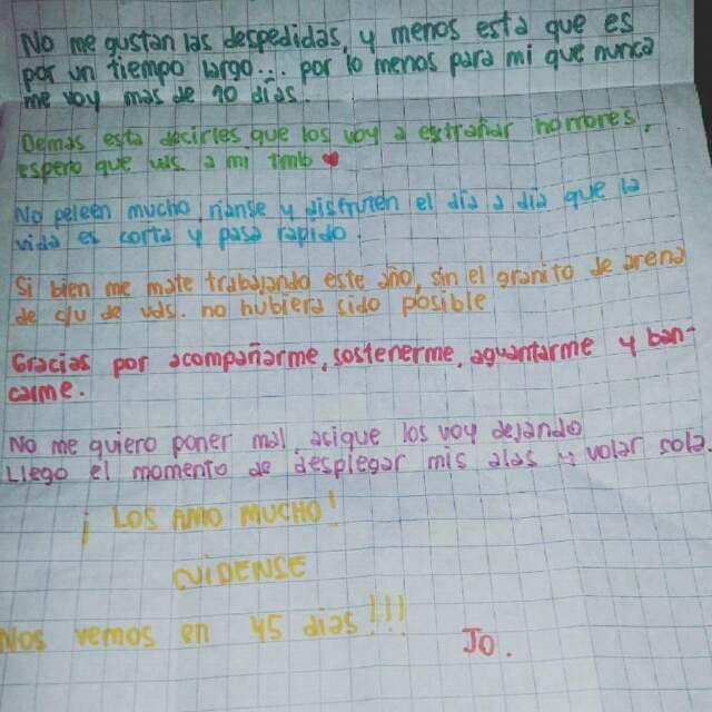 La premonitoria carta de despedida de una de las Mochileras
