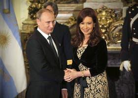 Putin y Cristina Kirchner, cuando el presidente ruso visitó la Argentina