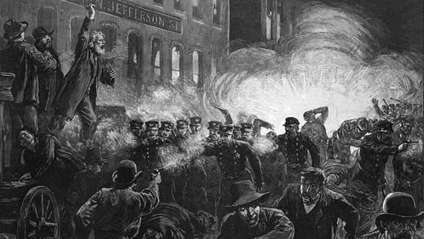 Ilustración del conflicto de Haymarket