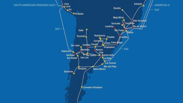 La red terrestre y marítima de Level 3; los cables de otras compañías hacen un recorrido similar
