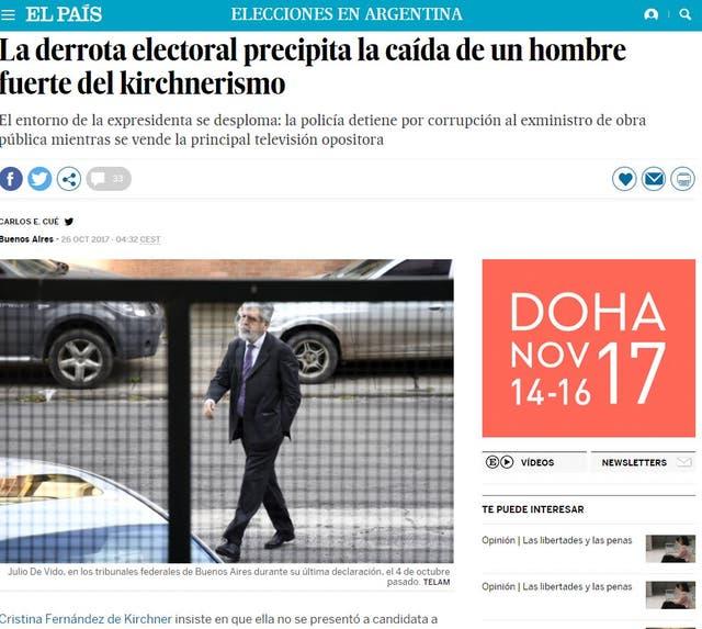 Medios de todo el mundo se hicieron eco de la detención del ex ministro K Julio De Vido