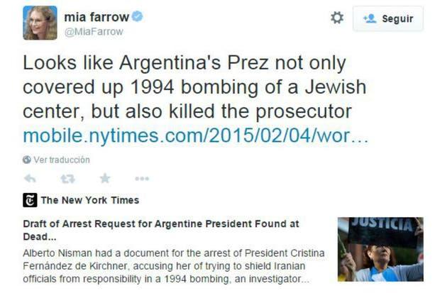 El tuit de la actriz contra Cristina Kirchner