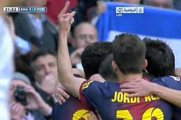 El gesto de Jordi Alba, tras el gol de Messi