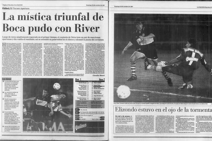 La cobertura de LA NACION, tras el triunfo de Boca sobre River en el Apertura 97. Foto: Archivo LA NACION