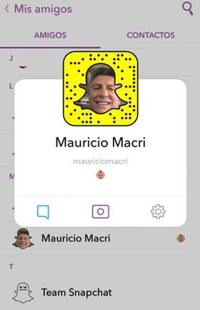 El usuario de Macri en Snapchat es Mauriciomacri
