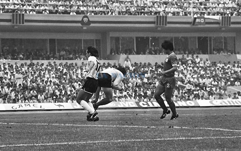 Pedro Pablo Pasculli fue el único atacante del equipo argentino. Foto: LA NACION