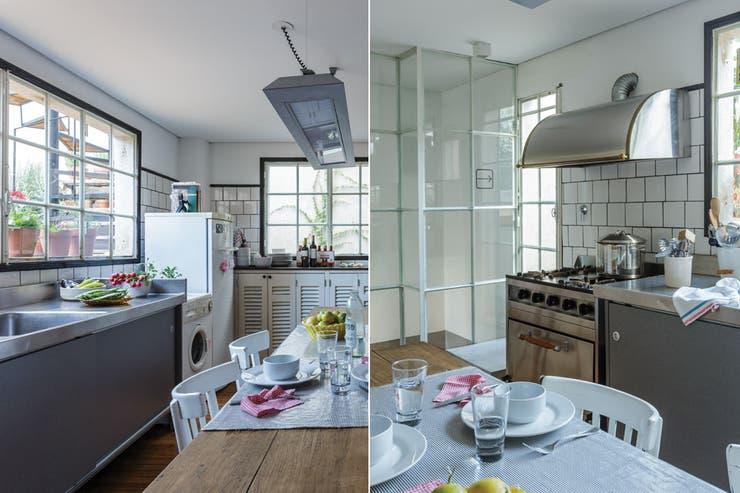Los antiguos azulejos blancos con con pastina negra y los ventanales de hierro hablan de la historia de esta cocina. En una reforma nunca te apures en descartar, siempre hay algo que se puede reutilizar