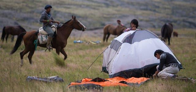 El campamento, en un alto de la cabalgata