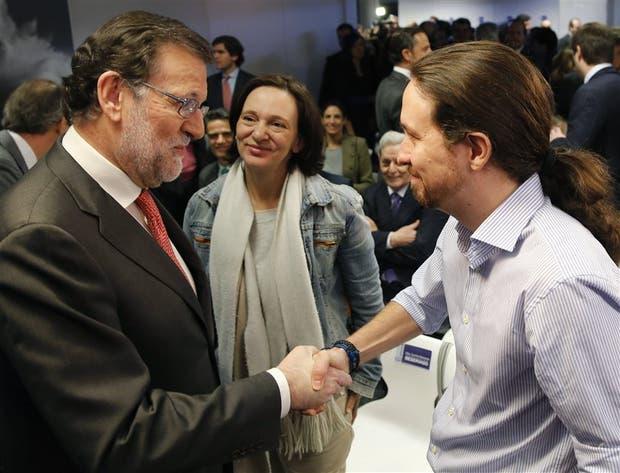Iglesias se cruzó ayer con Rajoy en la sede de la agencia EFE