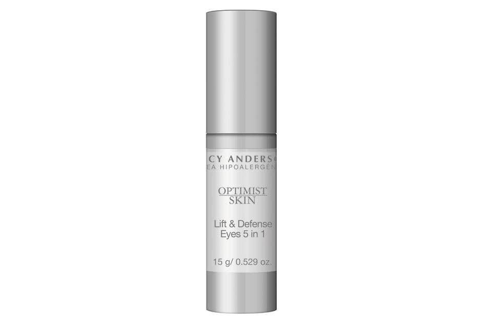 New Advanced Optimist Skin Lift & Defense. Bálsamo contorno de ojos 5 en 1. Es un producto eco desde el proceso productivo (Lucy Anderson, $480).