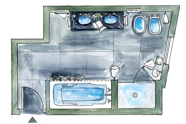 Por ser el baño de la suite principal, se buscó la manera de hacerlo compartible. Hay bañadera y box de ducha, por ejemplo, y un armario para cada uno al lado de la mesa.
