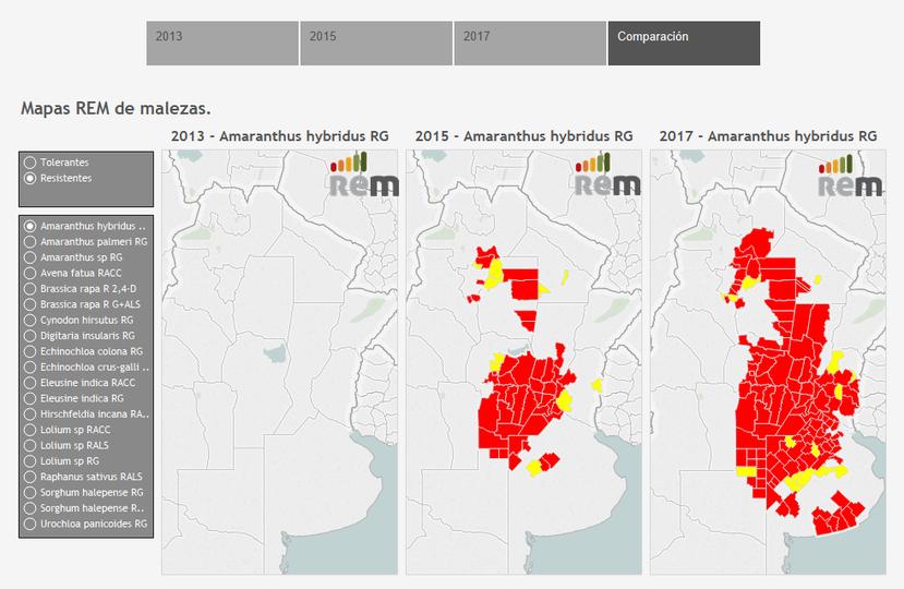 El relevamiento de la Red en conocimiento en Malezas (REM) permite ubicar la maleza por departamento y hacer una comparación de la evolución desde 2013