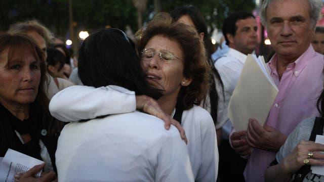 Familiares de Maria Marta Belsunce en una marcha en Plaza de Mayo pidiendo justicia. 2011