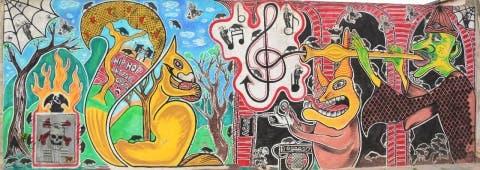 Maldonado pintó ocho murales en la ciudad de 25 de Mayo