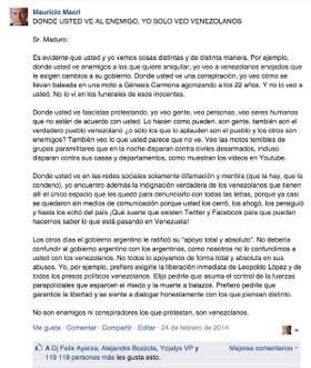 La carta que Macri le escribió a Nicolás Maduro en Facebook