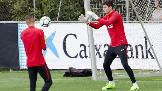 Axel Werner en su primera práctica con Atlético