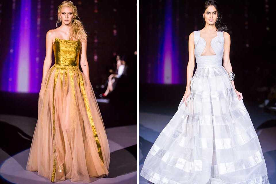 Vero Díaz muy elegante y clásica. La mayoría de sus vestidos de noche llevaban detalles de brillo y amplias faldas. Foto: gentileza Prensa