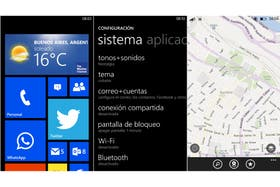 La pantalla de inicio con las baldosas activas; la herramienta de configuración; los mapas de Nokia