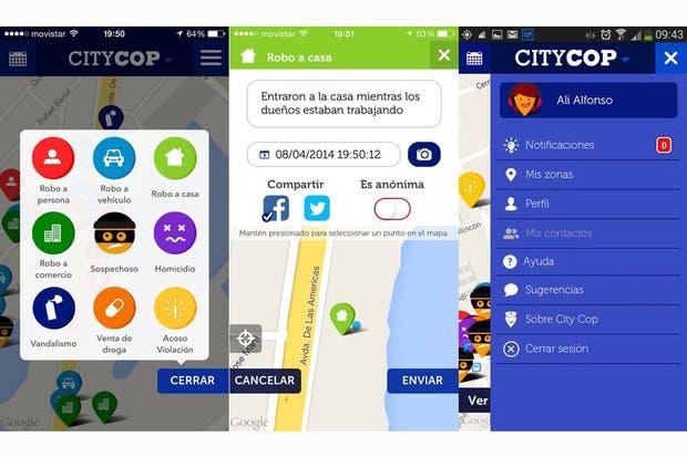 Capturas de pantalla de la aplicación CityCop, que permite elaborar un mapa del delito basado en las denuncias de su comunidad de usuarios