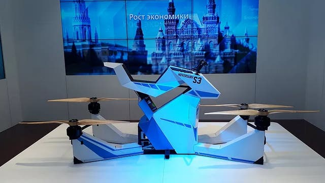 Así se ve el Scorpion-3, el hoverboard desarrollado por la compa?ía rusa Hoversurf que fue adoptado por la policía de Dubai