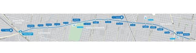 El mapa del Metrobús La Matanza