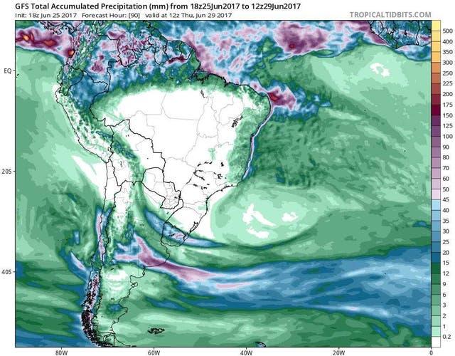 Los registros de lluvias que se esperan acumulados hasta el jueves