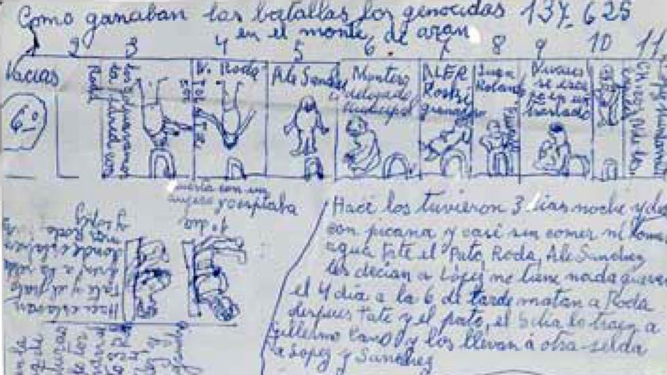 """En 2012, en el libro """"Jorge Julio López. Memoria escrita"""" ya se habían dado a conocer seis páginas de manuscritos que el albañil le entregó a un amigo para que los custodie. Foto: Gentileza Marea Editorial"""