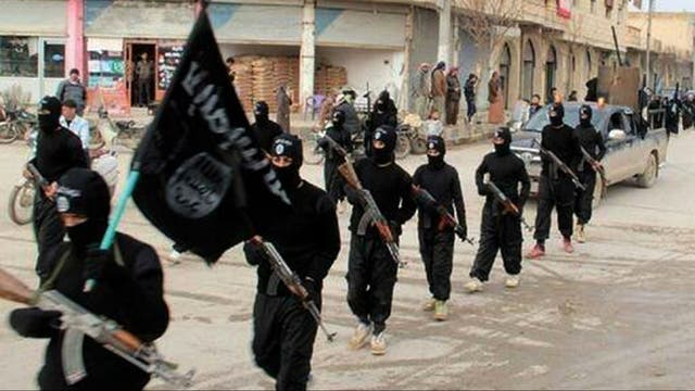 Militantes de Estado Islámico en Raqqa, Siria