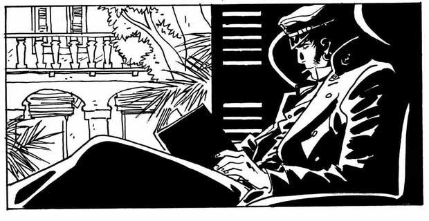 Libro en mano, cigarrillo encendido: el personaje recreado por su actual dibujante, el español Rubén Pellejero