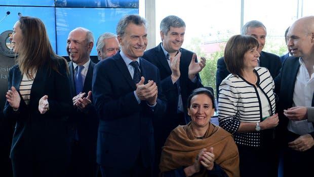 Mauricio Macri durante la presentación de Argentina sin narcotráfico, en Tecnópolis