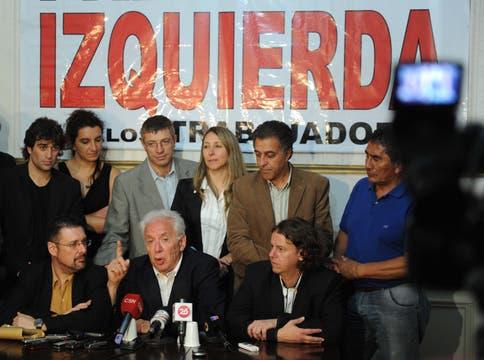 Jorge Altamira en el búnker del Frente de Izquierda. Foto: LA NACION