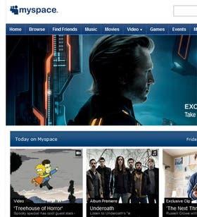 Una captura de pantalla de la página de inicio de MySpace