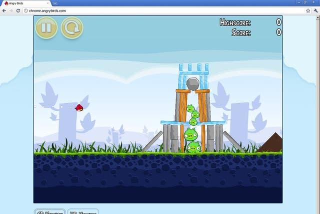 Una captura de pantalla del juego Angry Birds, que ya se encuentra disponible en la tienda de aplicaciones web de Chrome