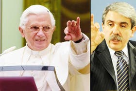 Benedicto XVI y Aníbal Fernández, al responder