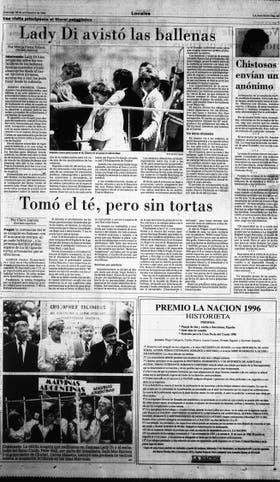 Todos los días de su visita, los medios cubrieron cada paso de Lady Di en la Argentina. Página 23 de LA NACION del 26 de noviembre de 1995