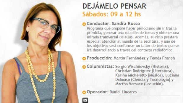 Sandra Russo ya no conducirá su programa Dejámelo Pensar en Radio Del Plata