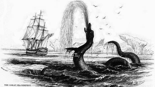 Una ilustración de una serpiente marina