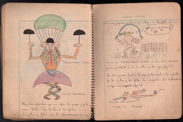 Páginas de la obra que escribió e ilustró Landrú en un cuaderno, en 1939, Génesis novísimo.