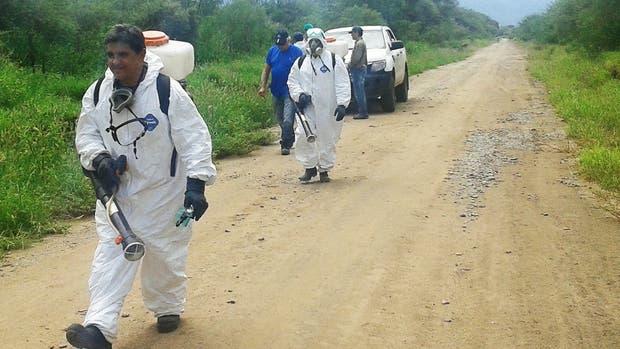 Una de las nueve patrullas de Senasa que recorren la región afectada y fumigan los focos que denuncian los productores